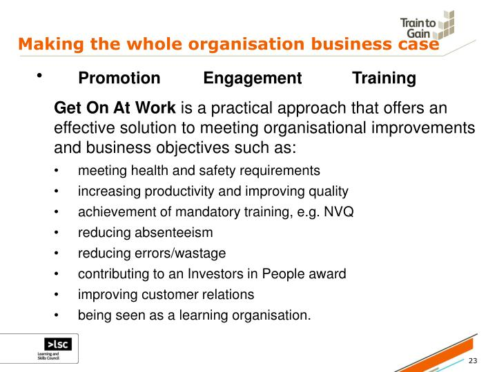 Making the whole organisation business case