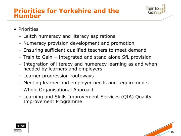 Priorities for Yorkshire and the Humber