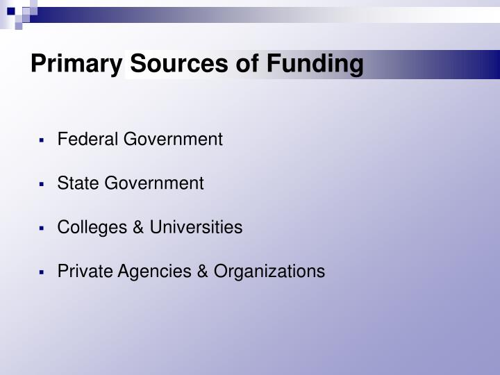 Primary Sources of Funding