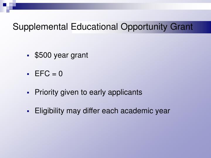 Supplemental Educational Opportunity Grant