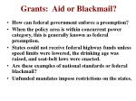 grants aid or blackmail