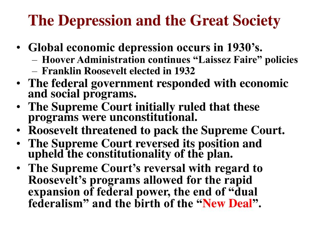 The Depression and the Great Society