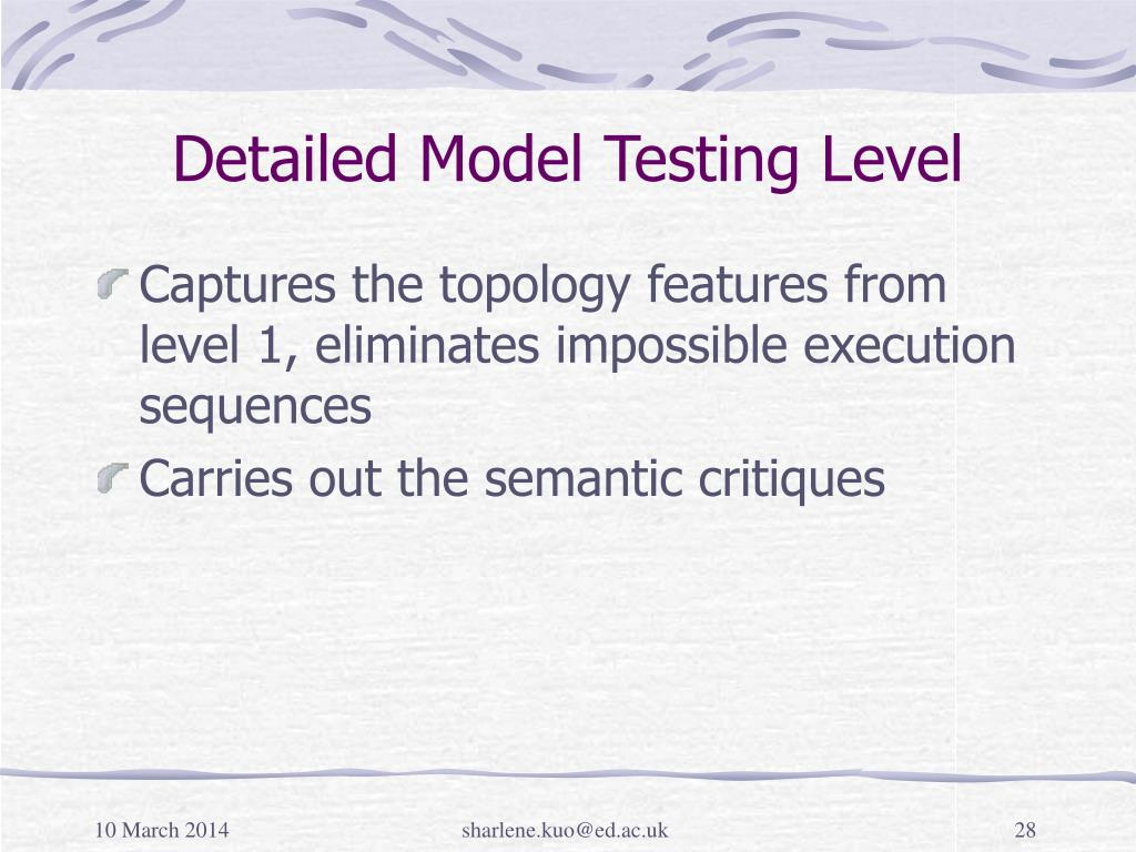Detailed Model Testing Level