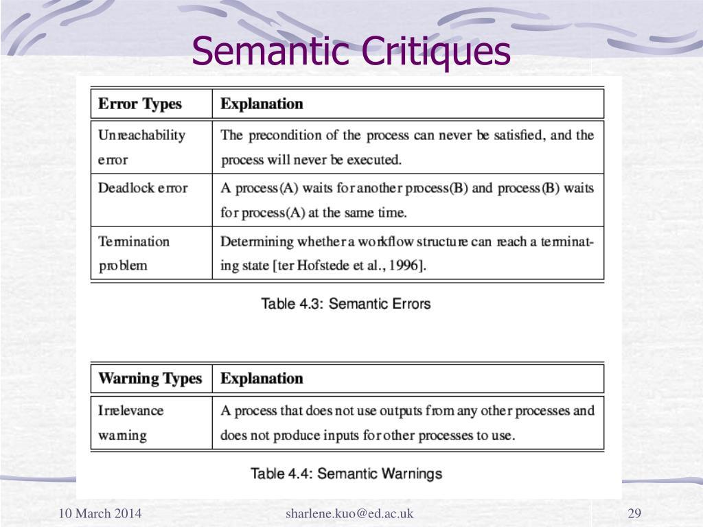 Semantic Critiques