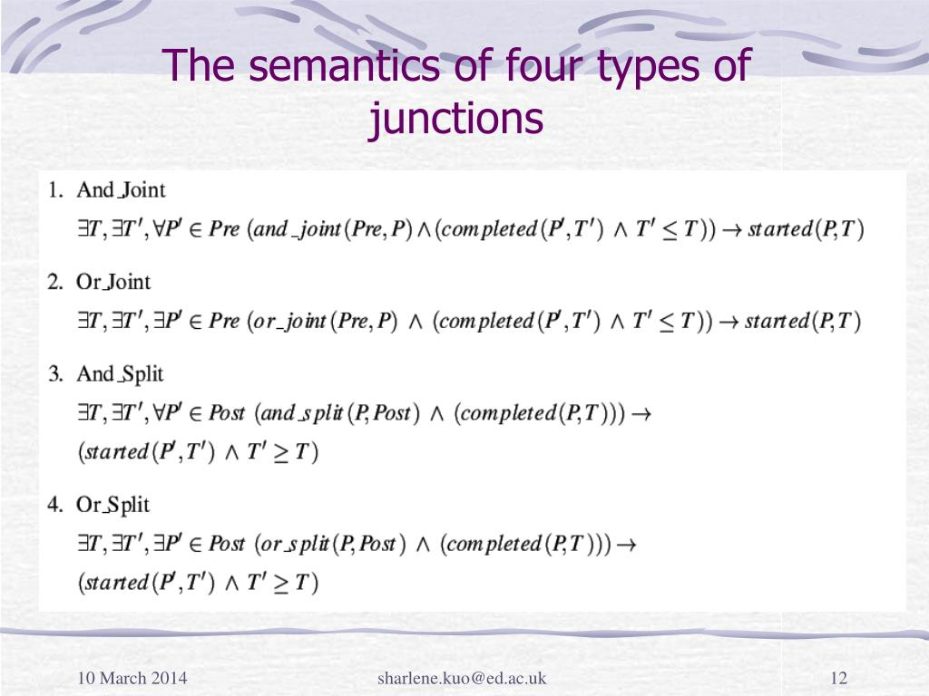 The semantics of four types of junctions