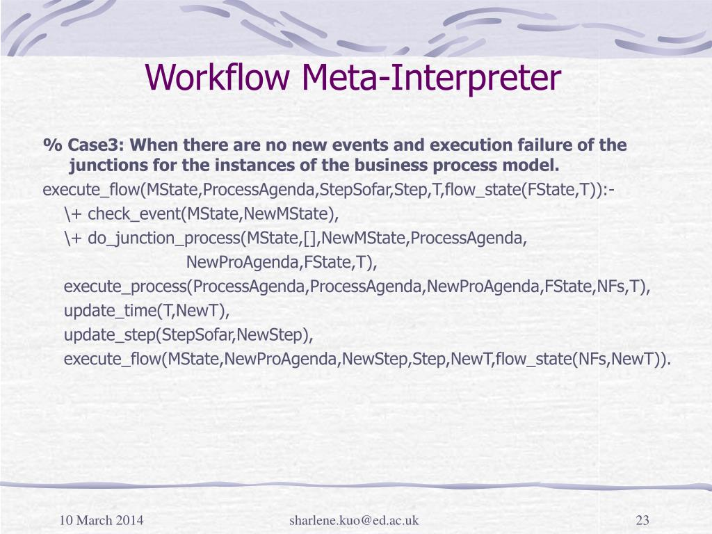 Workflow Meta-Interpreter
