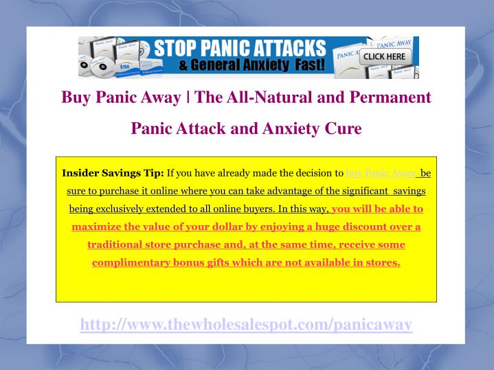 Buy Panic Away | The All-Natural and Permanent Panic Attack and Anxiety Cure