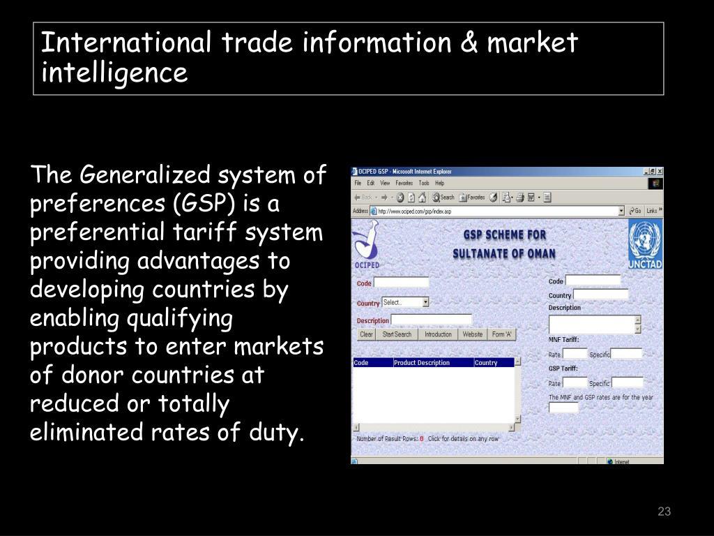 International trade information & market intelligence