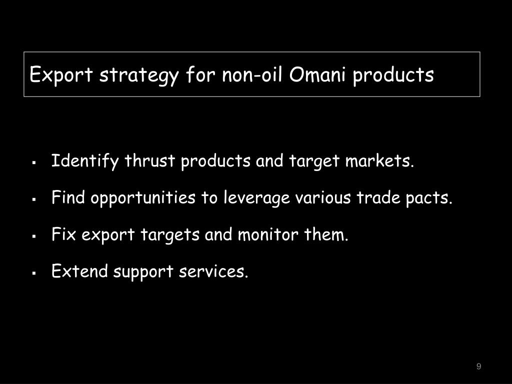 Export strategy for non-oil Omani products