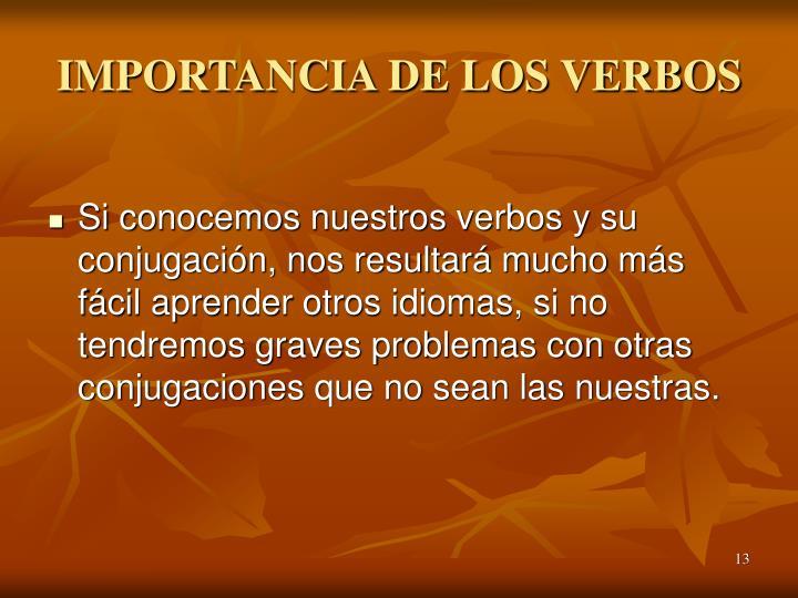 IMPORTANCIA DE LOS VERBOS