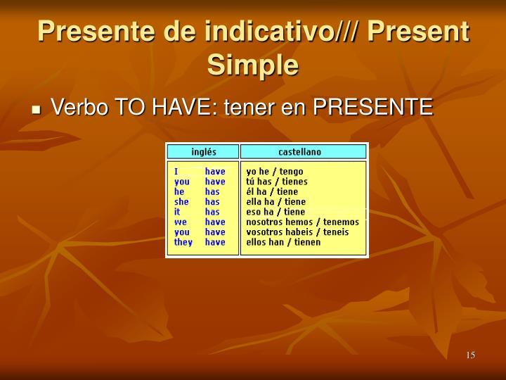 Presente de indicativo/// Present Simple