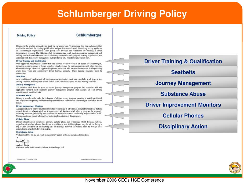 Schlumberger Driving Policy
