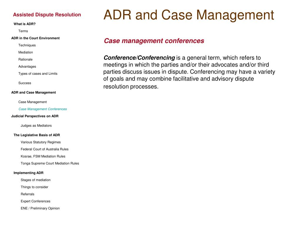 ADR and Case Management
