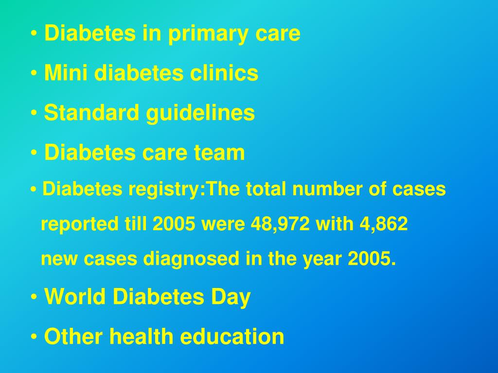 Diabetes in primary care