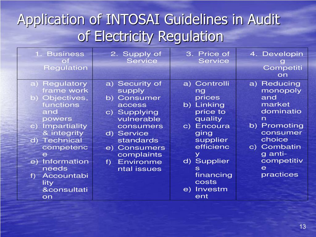 Application of INTOSAI Guidelines in Audit