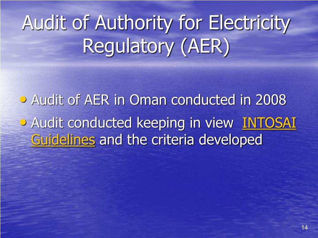 Audit of Authority for Electricity Regulatory (AER)