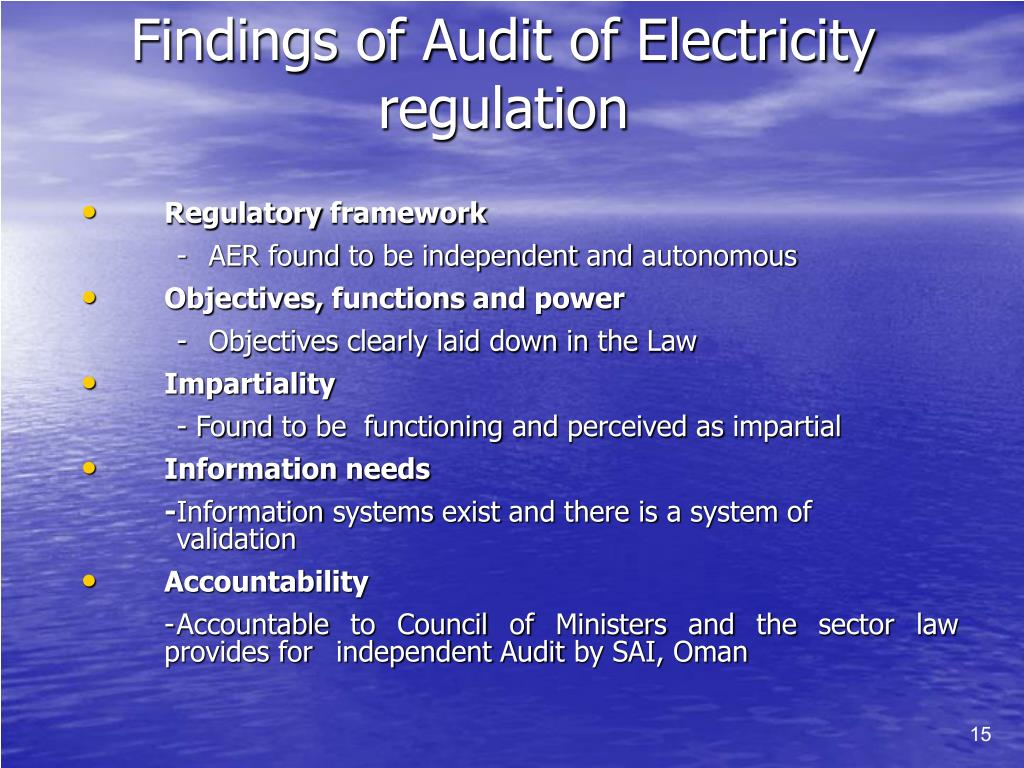 Findings of Audit of Electricity regulation