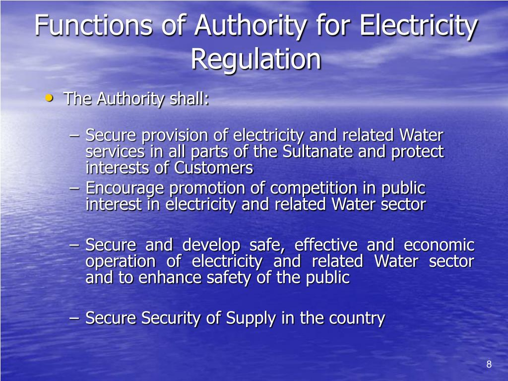 Functions of Authority for Electricity Regulation