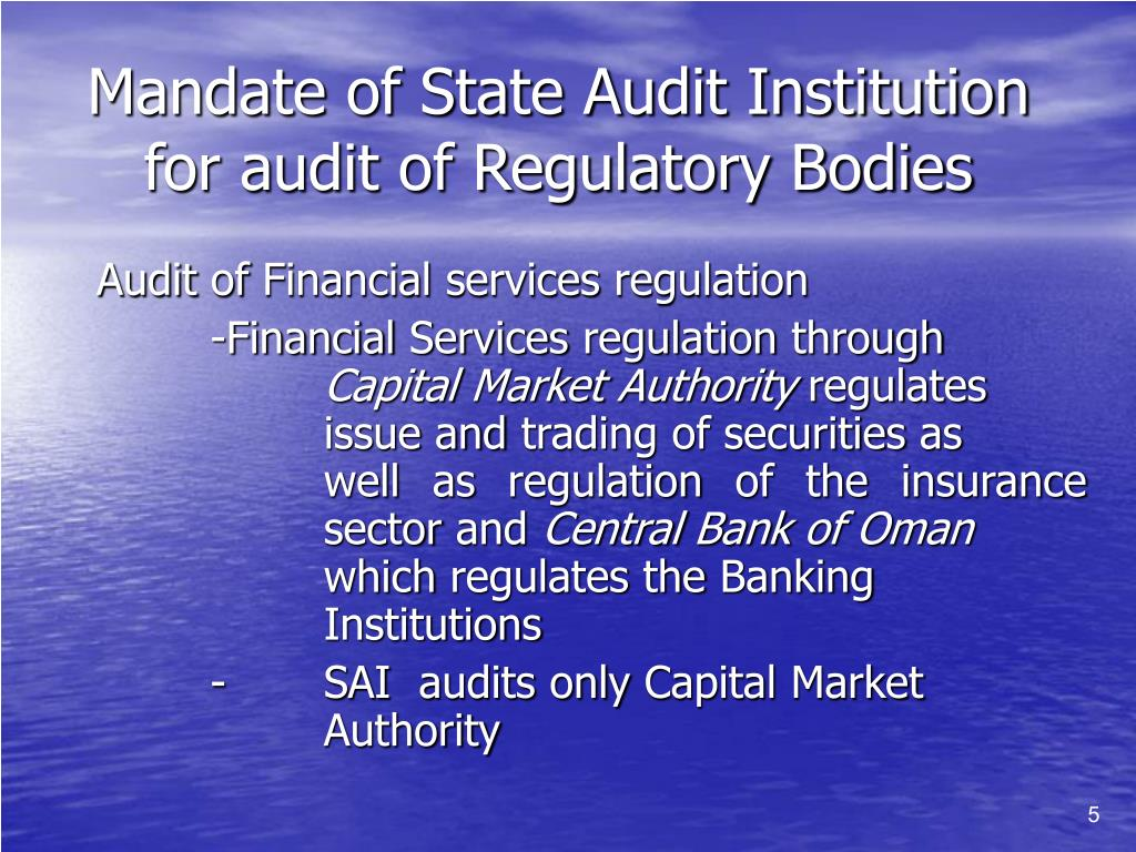 Mandate of State Audit Institution for audit of Regulatory Bodies