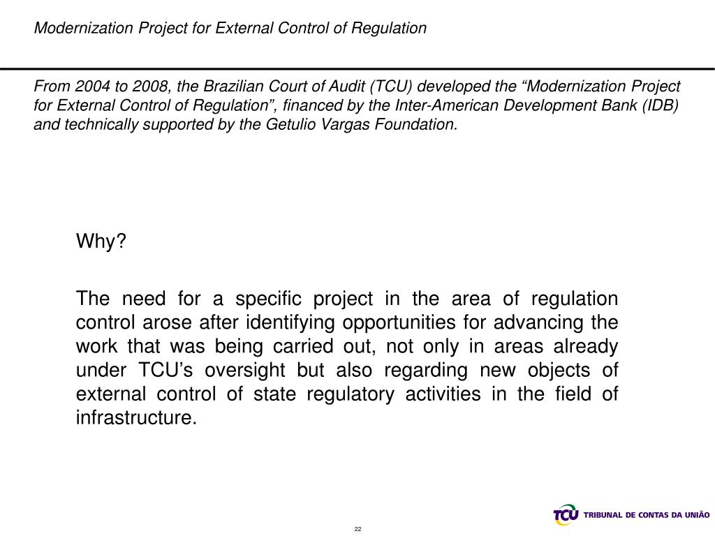 Modernization Project for External Control of Regulation