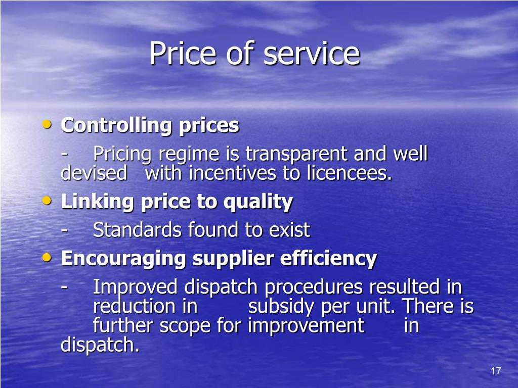Price of service