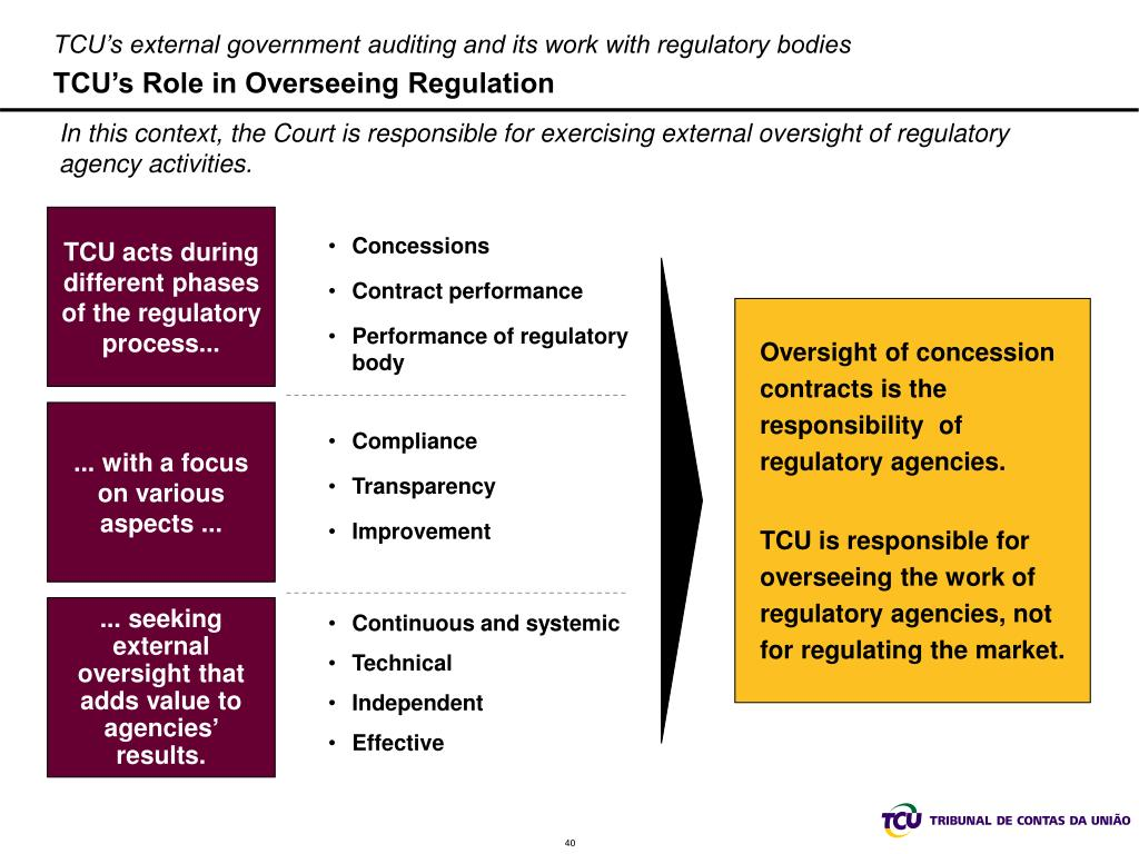 TCU's external government auditing and its work with regulatory bodies