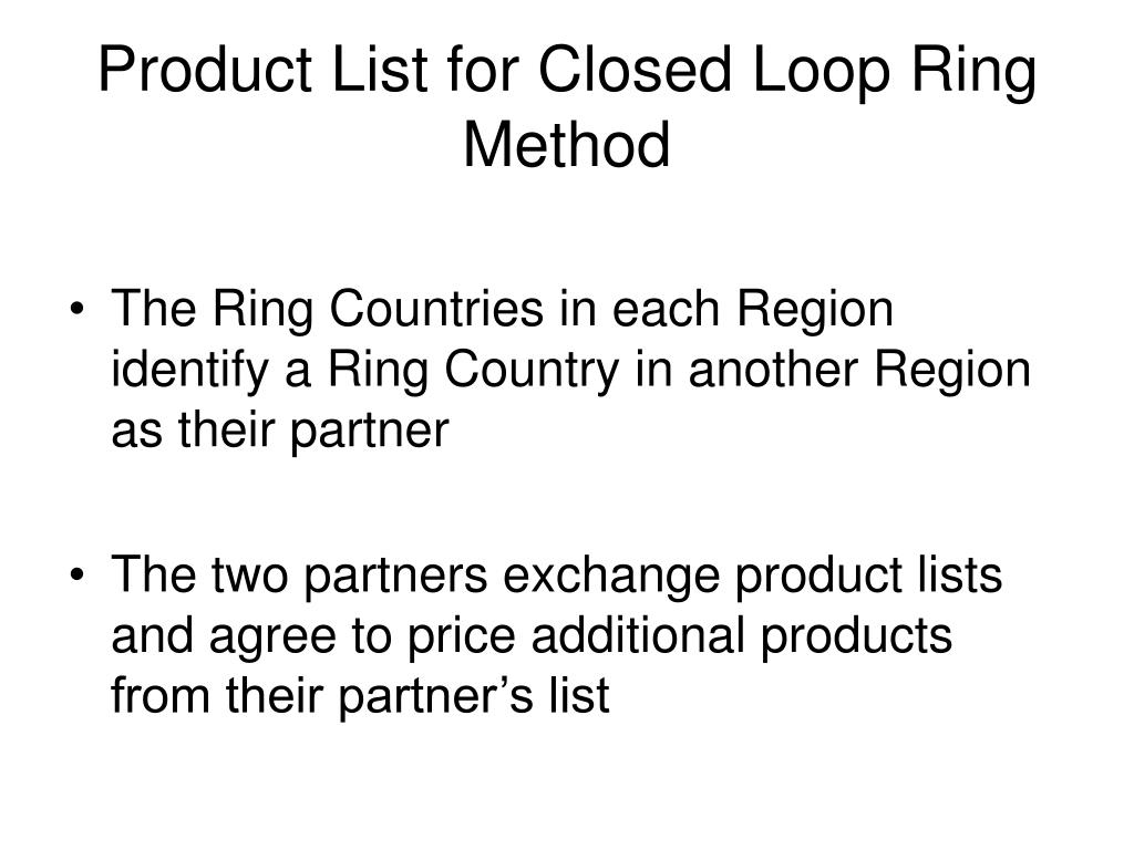 Product List for Closed Loop Ring Method