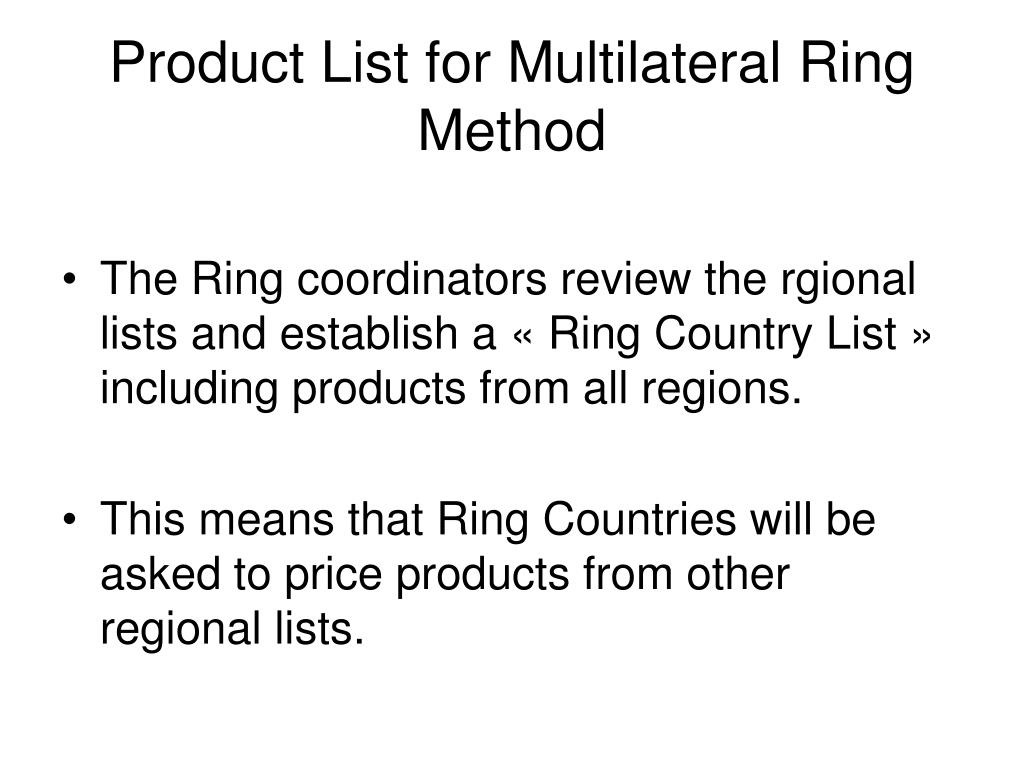 Product List for Multilateral Ring Method