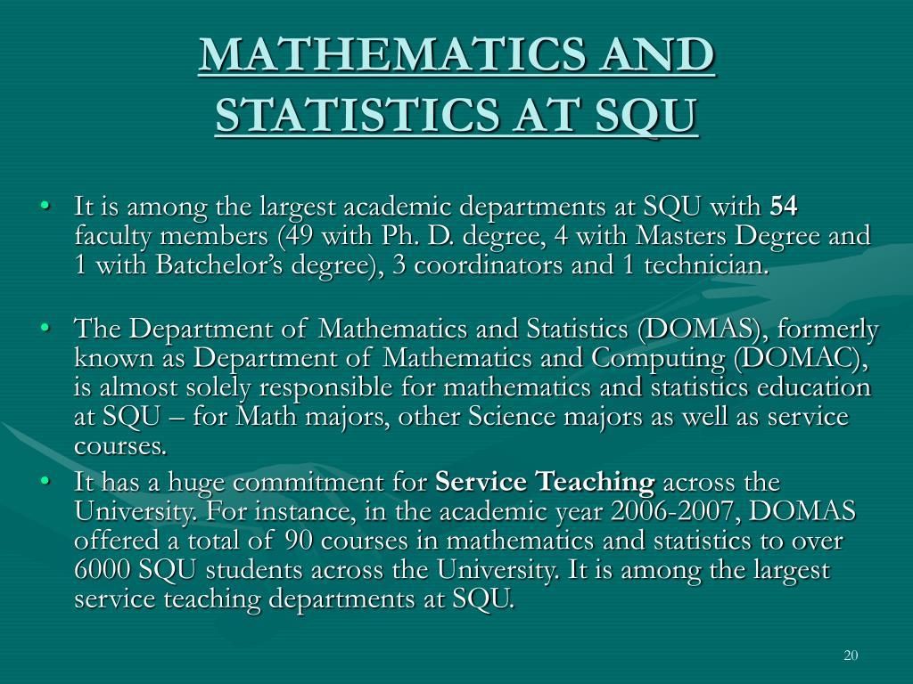 MATHEMATICS AND STATISTICS AT SQU