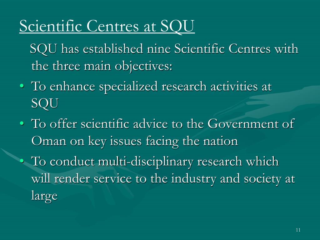Scientific Centres at SQU