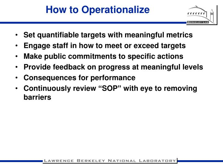 How to Operationalize