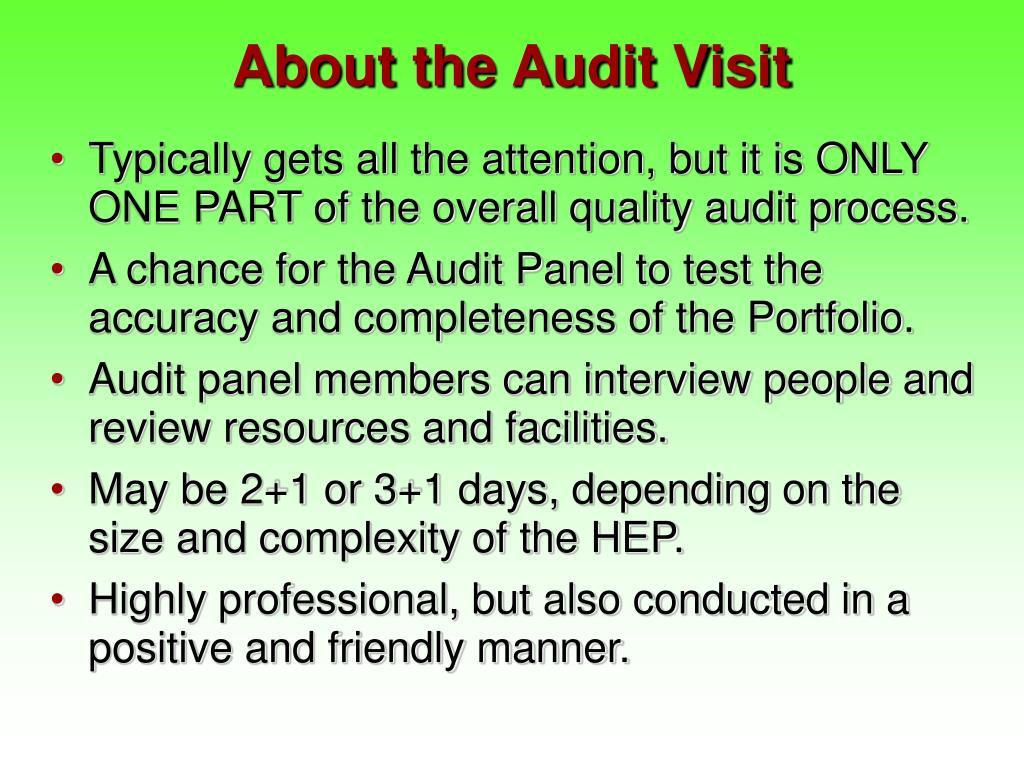 About the Audit Visit