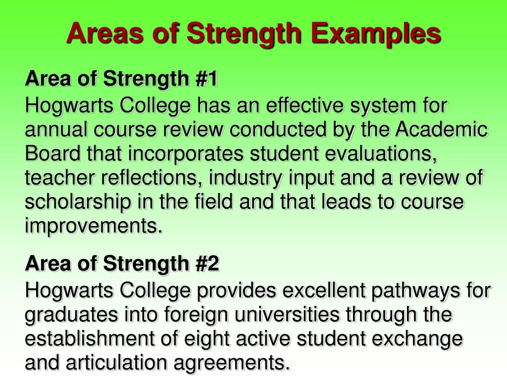 Areas of Strength Examples