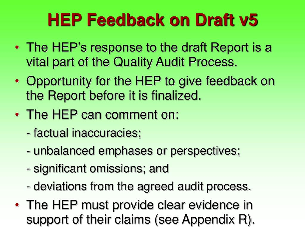HEP Feedback on Draft v5