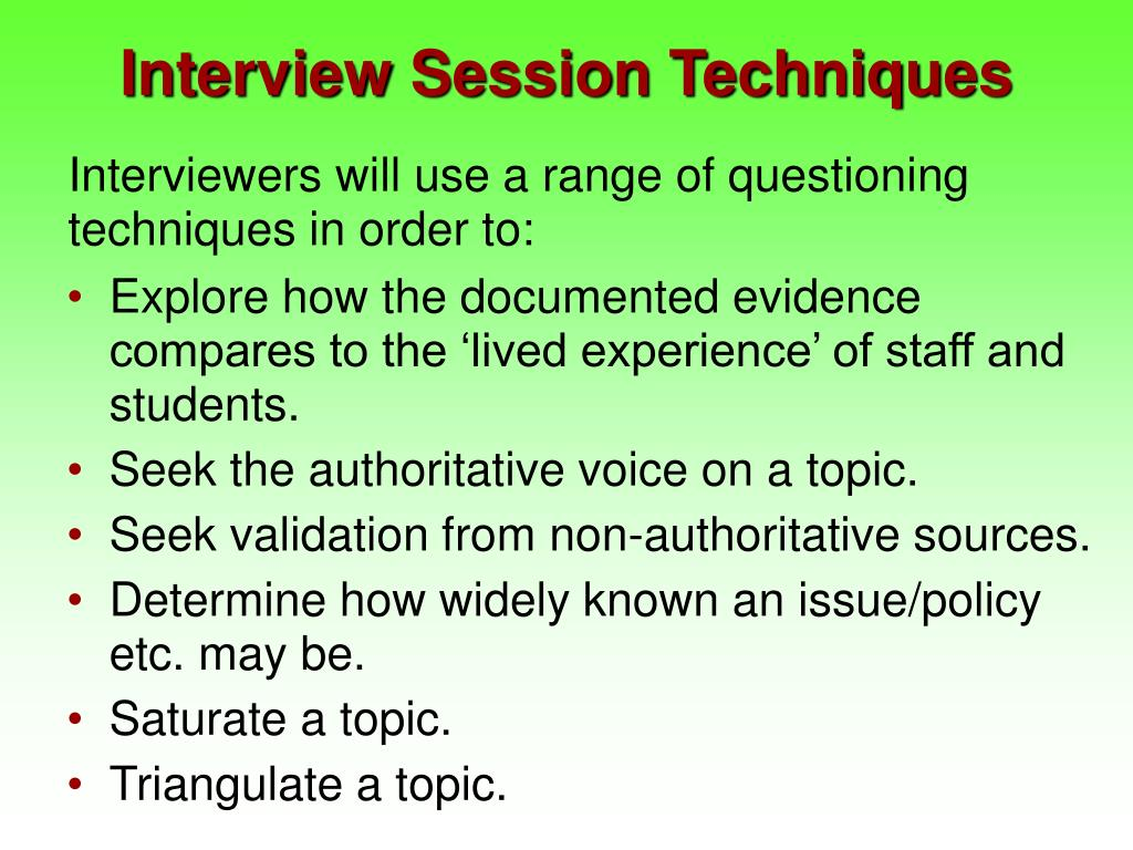 Interview Session Techniques