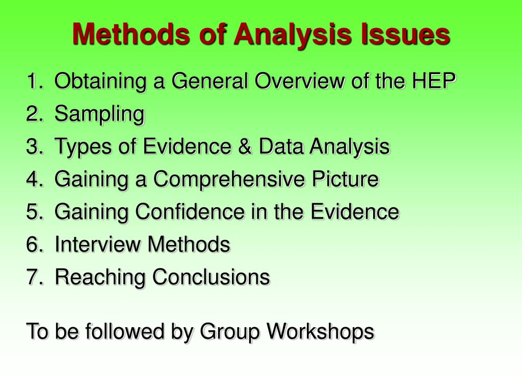 Methods of Analysis Issues