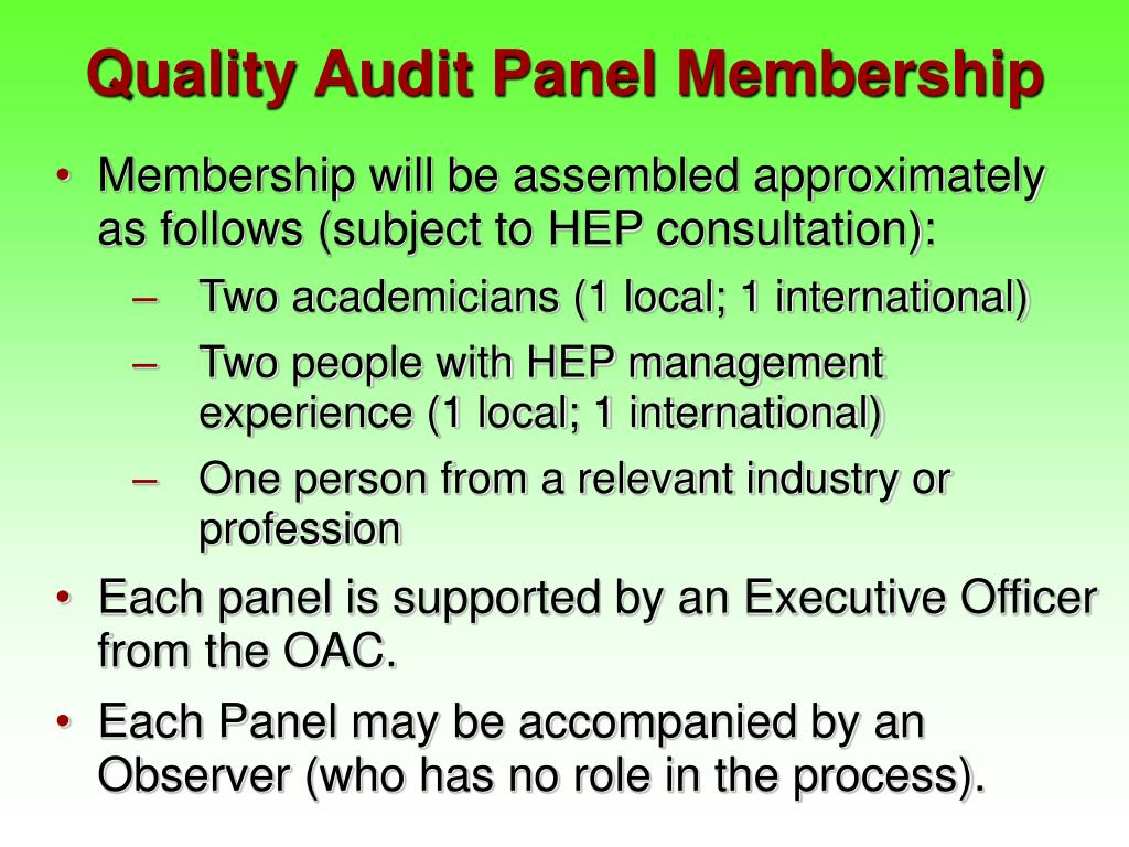 Quality Audit Panel Membership