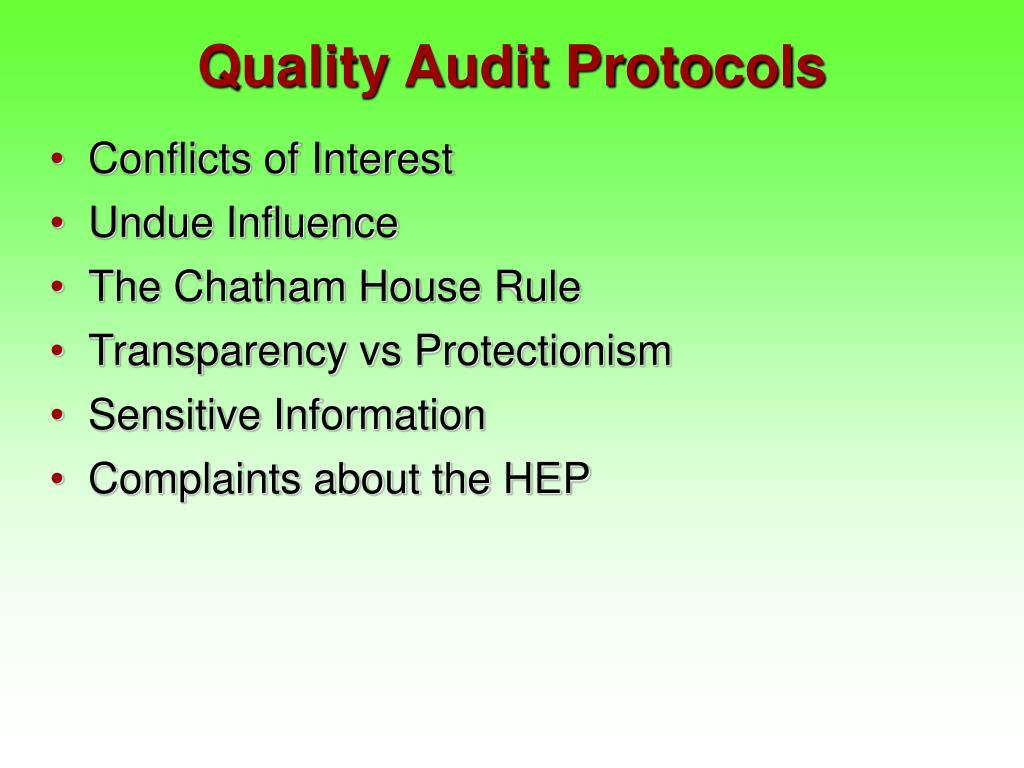 Quality Audit Protocols