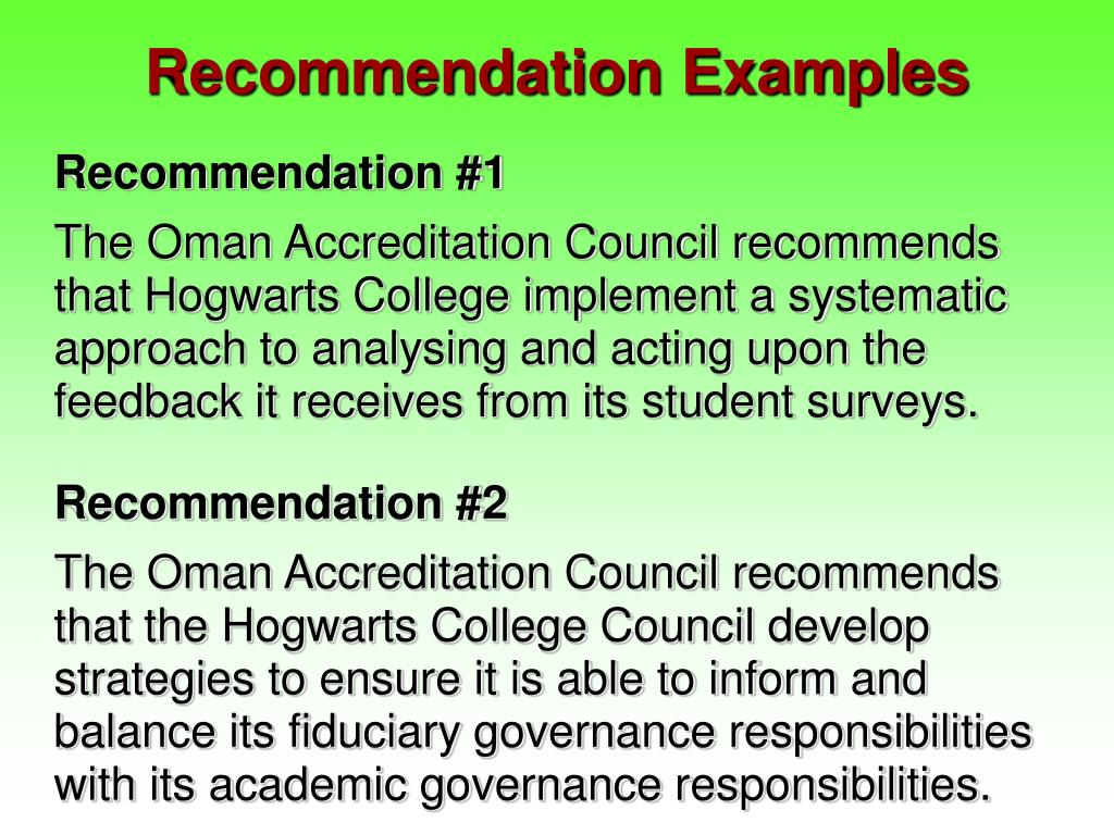 Recommendation Examples