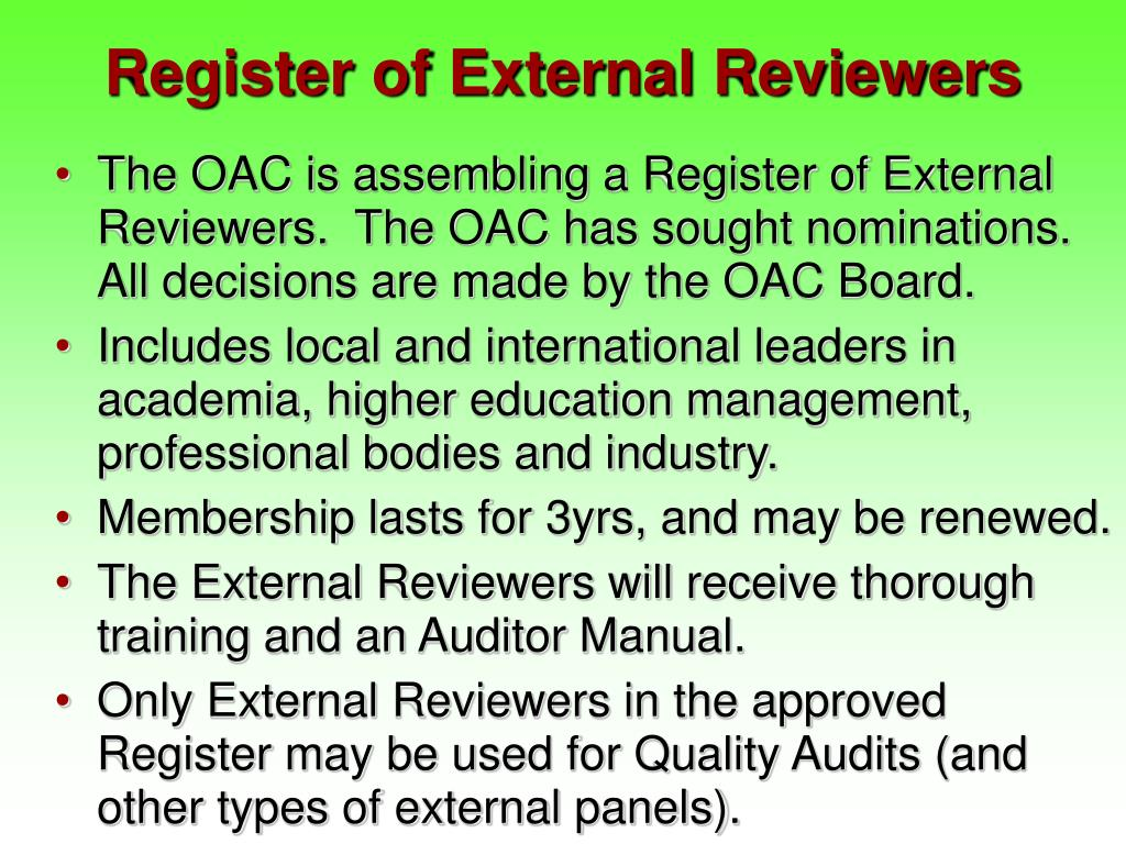 Register of External Reviewers