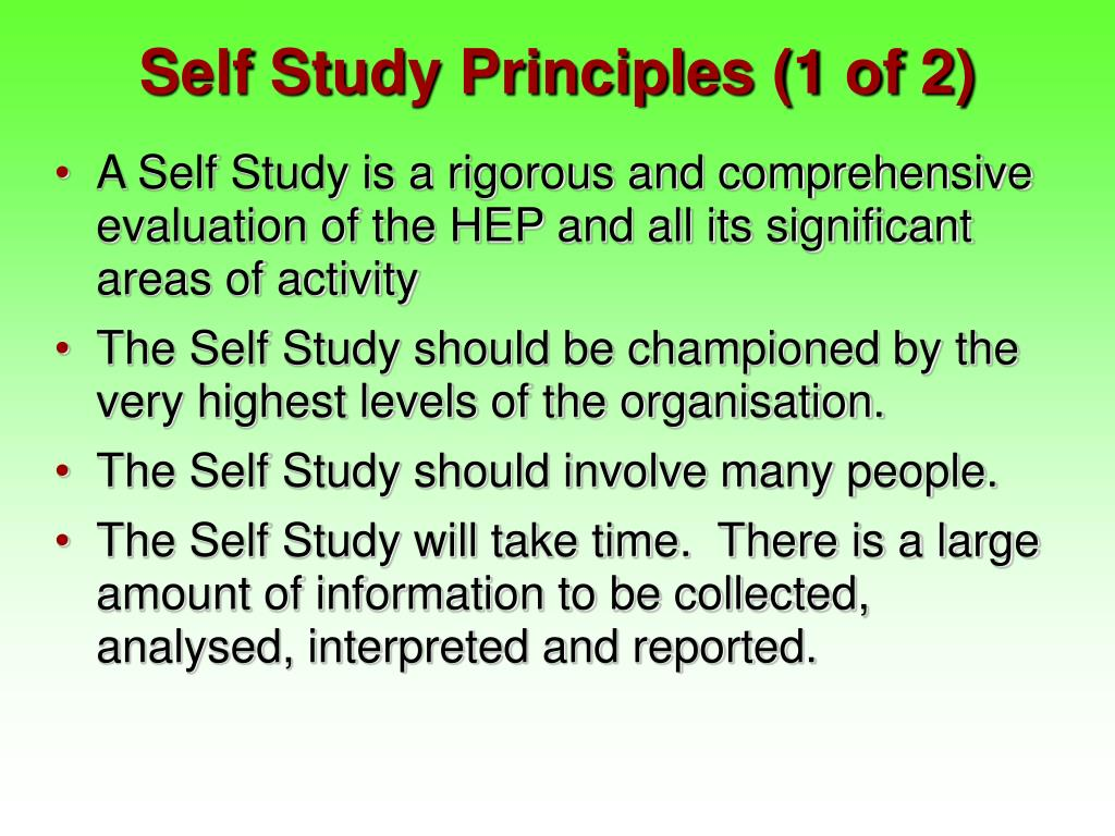 Self Study Principles (1 of 2)
