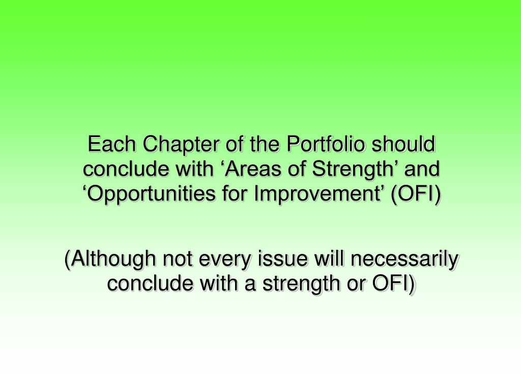 Each Chapter of the Portfolio should conclude with 'Areas of Strength' and 'Opportunities for Improvement' (OFI)