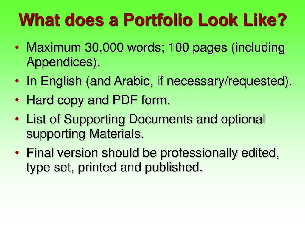 What does a Portfolio Look Like?