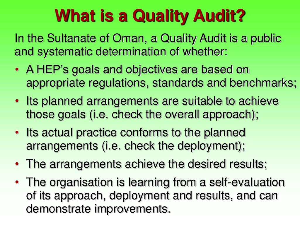 What is a Quality Audit?