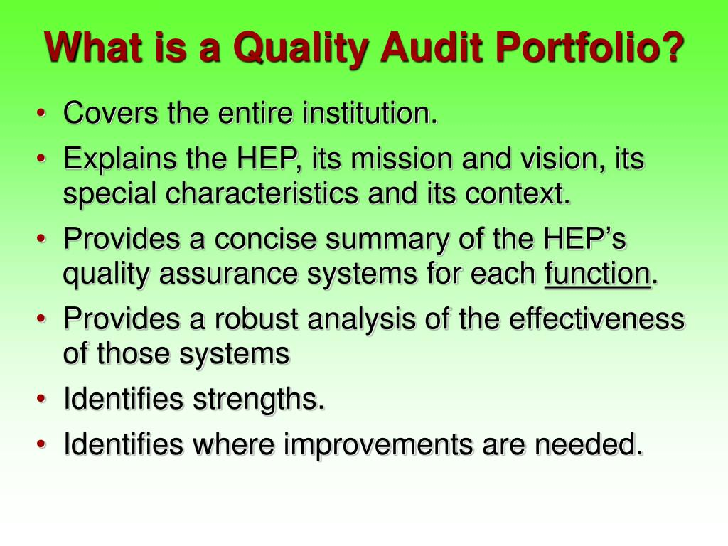 What is a Quality Audit Portfolio?