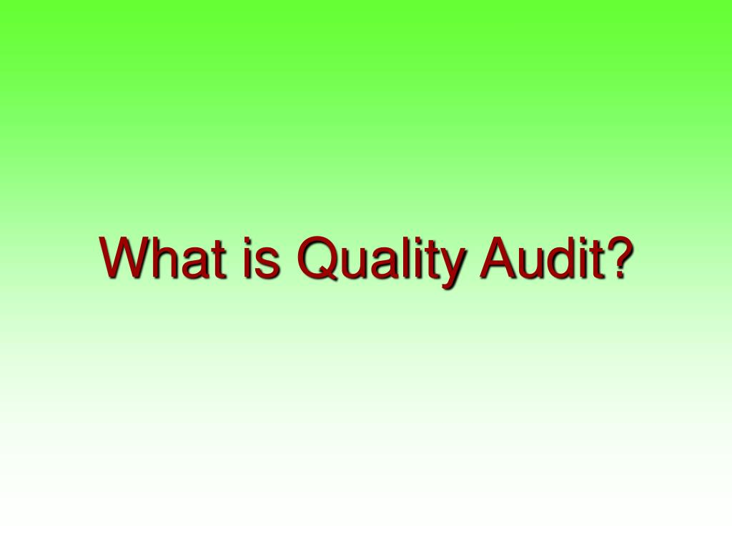 What is Quality Audit?