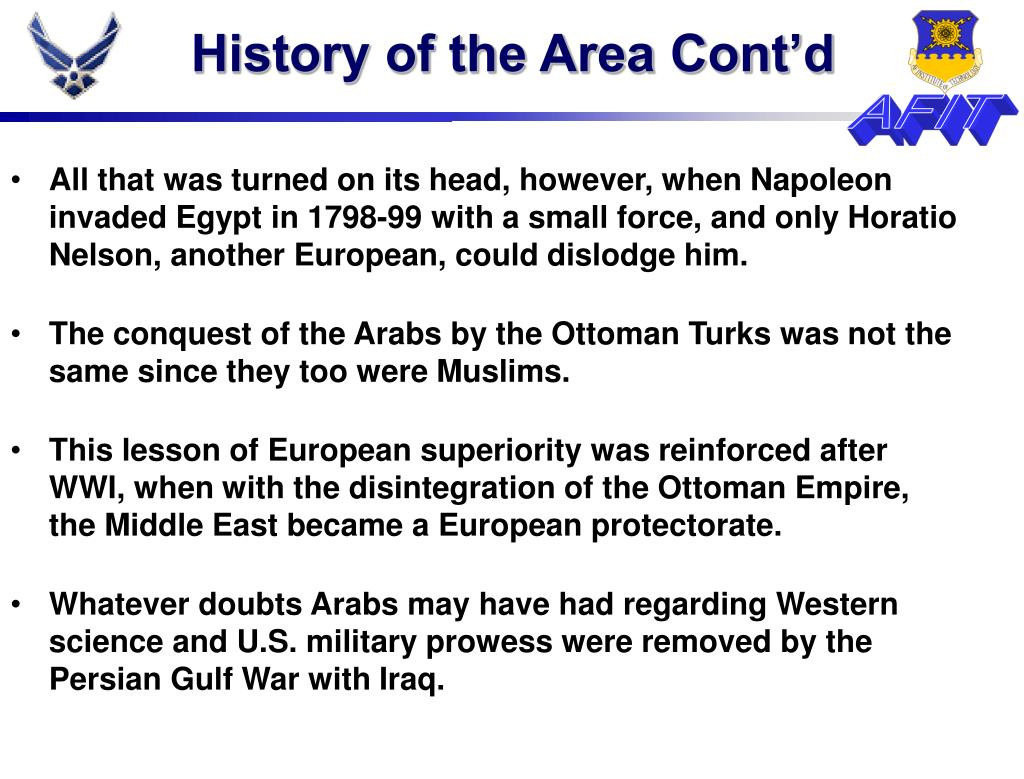 History of the Area Cont'd