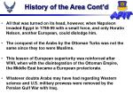 history of the area cont d