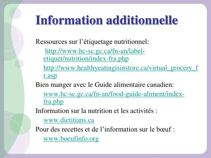 Information additionnelle