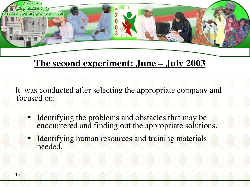 The second experiment: June – July 2003
